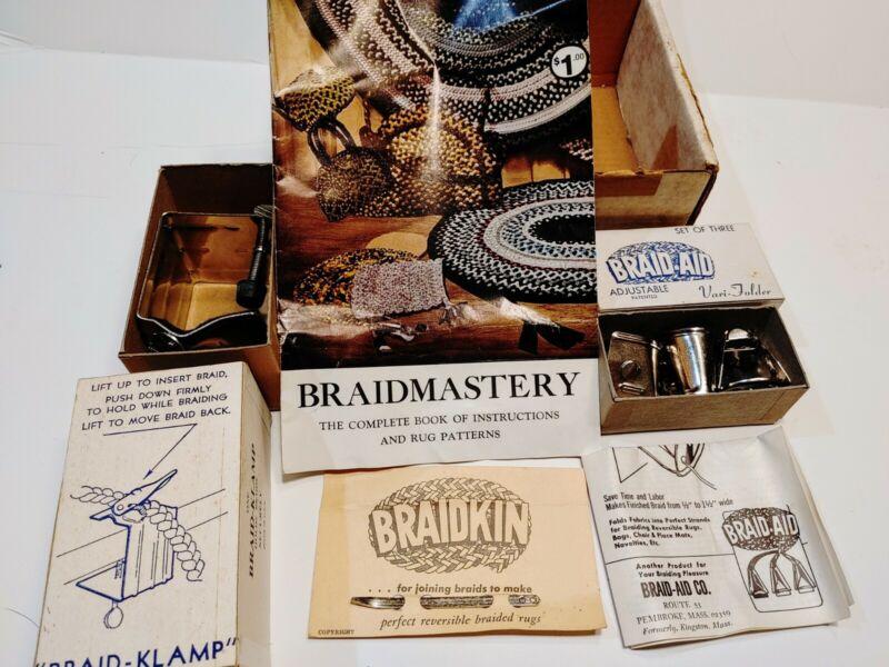Vintage Rug Braiding Tool Kit - Braid-Klamp, Braid-Aids (3), Braidkin & Book NOS