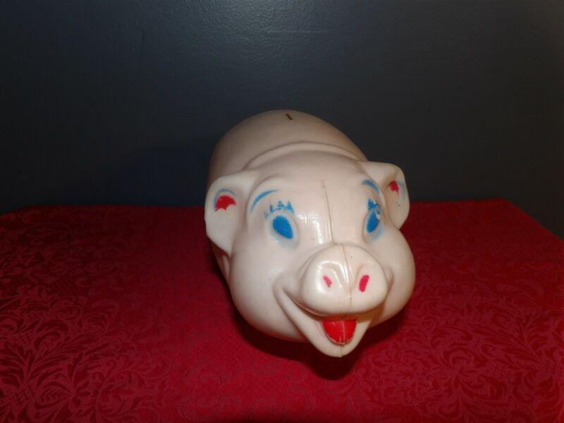 "RARE Vintage Unmarked 12"" Light Pink Plastic PIGGY BANK No Cut Hole"