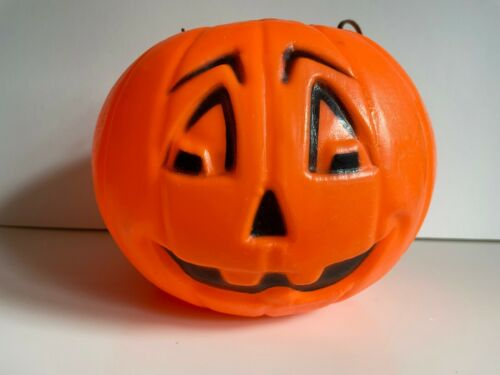"VTG Halloween Blow Mold / JACK O"" LANTERN treat bucket / General Foam Plastics"
