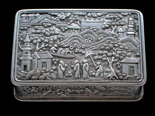 19th Chinese Silver Snuff Box - pseudo English hallmarks