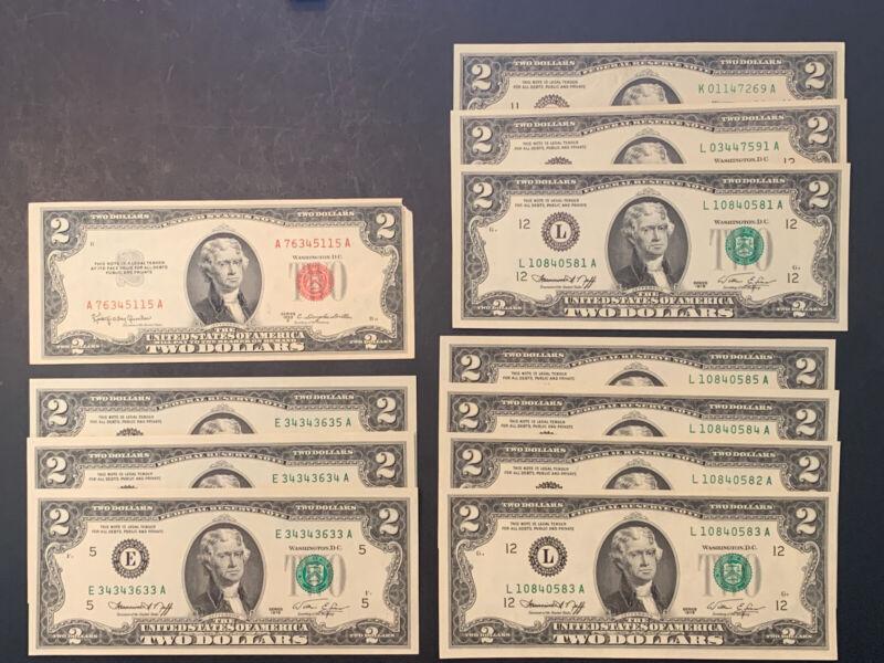 Lot Of 11 - $2 Two Dollar Bills ⚜️®️CW6-20