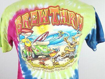 Men's Tie Dye T-Shirt Medium Brew Thru Outer Banks NC Corolla Kitty Hawk Jockeys