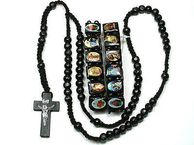 wood Beads Catholic Rosary  Necklace with Two Matching Rosary Bracelets in black Catholic Rosary Bracelets