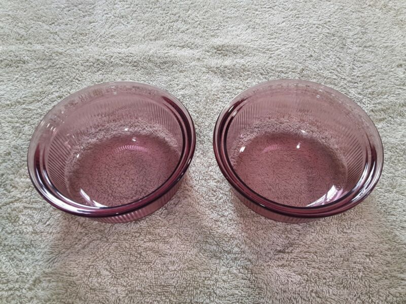 2 Visions Corning Ware Cranberry Glass 1-Pt Bowls C-16-B
