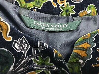 Vintage Laura Ashley cropped velvet jacket navy green mustard size 16 wedding