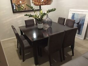 Dark timber dining table set 8 seater square Glenmore Park Penrith Area Preview