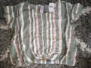 Girls-justice-mesh-ruffled-ring-top-size-8-new-multi-striped