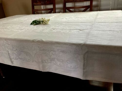"ANTIQUE FINE LINEN DAMASK TABLECLOTH~BEAUTIFUL ART NOVEAU / WHITE~54"" W X 88"" L"