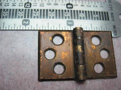 2 Antique Victorian Brass plate Shutter Window Hardware Hinge Vintage Pair 7