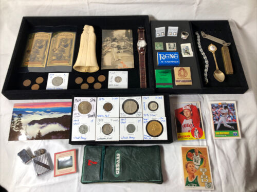 Junk Drawer Lot Gold Silver Coins 1946 Walking Liberty Half Fossil Watch Jewelry - $42.00