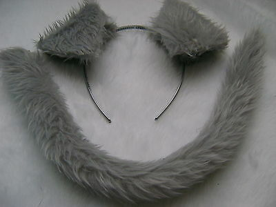 Grey Labrador Puppy Dog Ears And Tail Set Grey Faux Fur Instant Fancy Dress - Dog Ears And Tail Costume