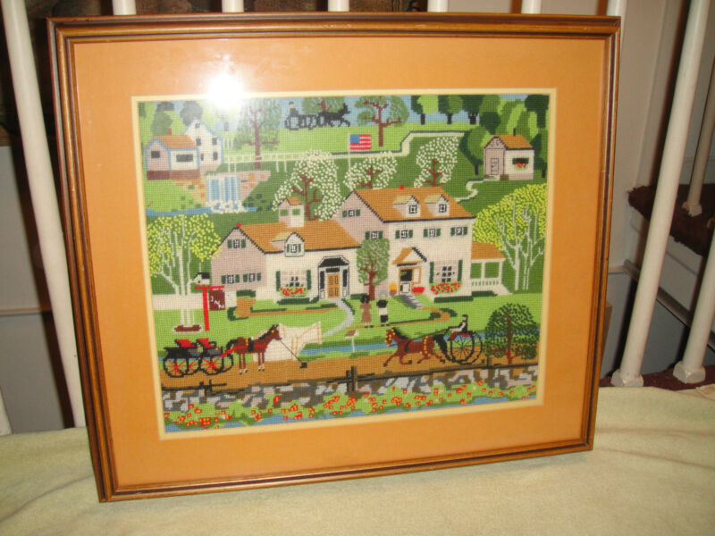 Vintage Needlepoint Cross Stitch Framed Country Village Decor Horses Farms