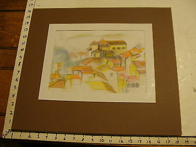 JAN STEELE, drawing: COLORED pencil: BUILDING, HOUSES