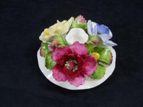 Aynsley Hand Painted Hand Molded Porcelain Flowers Candleholder ~ England