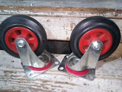 2 Large Heavy Duty Galvanized Solid Rubber Wheel Swivel Casters