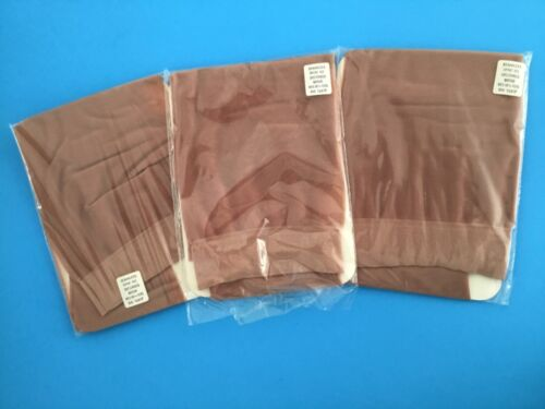NEW VTG 1960 NOS 3 PRS SEAMLESS SHEER SUPPORT STOCKINGS USA BEIGE XL NOS SECONDS