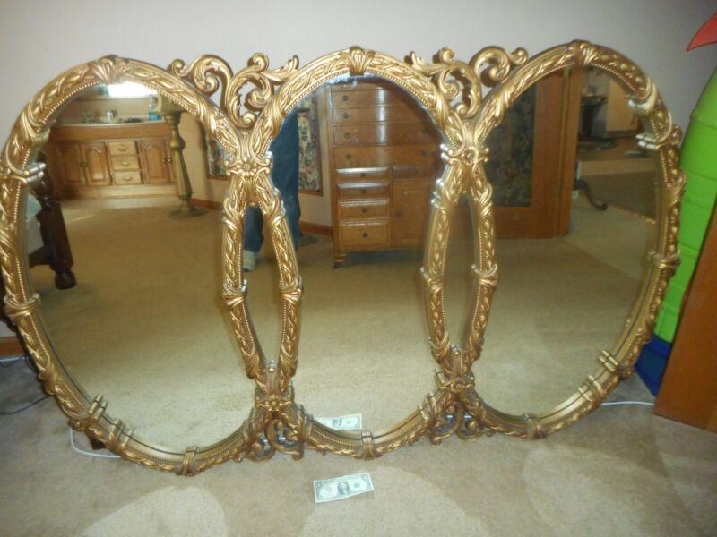 Large Vintage Mid Century Tri-Oval Wall Mirror 65