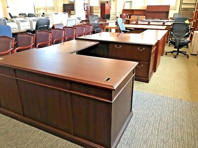 Executive U-shape Desk By Kimball Office Furniture In Cherry Finish Wood
