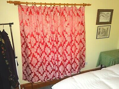 "Vintage 1950s Shiny Cotton Brocade Curtains Rusty Red  60""L x 46""W"
