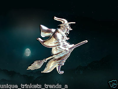 Halloween Broom Costume (WICKED EVIL SEXY FLYING WITCH ON BROOM HALLOWEEN COSTUME SILVER TONE PIN)