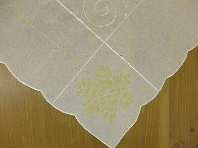 Tischdecke Mitteldecke 85 x 85 cm Winter ecrue 2322 Schneeflocke gold bestickt