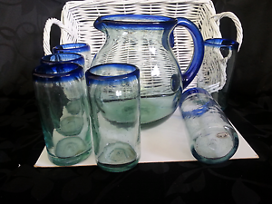 Mexican Bubble Glass Jug & Tumblers Set Carrington Newcastle Area Preview