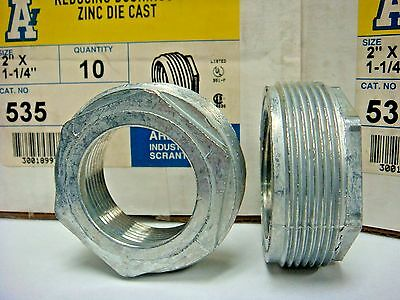10 Arlington 535 Reducing Bushing 2 X 1-14 Rigid Imc Fitting Zinc Diecast