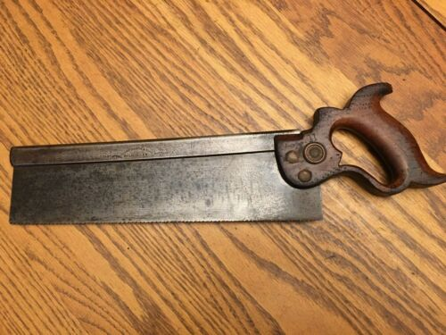 """Vintage Henry Disston & Sons 12"""" Back Saw Collectible Woodworking Carpentry USA"""