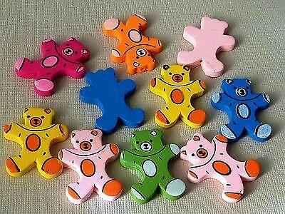 10 große Teddybär Holzperlen Mix Mischung 34 x 28 mm 1300