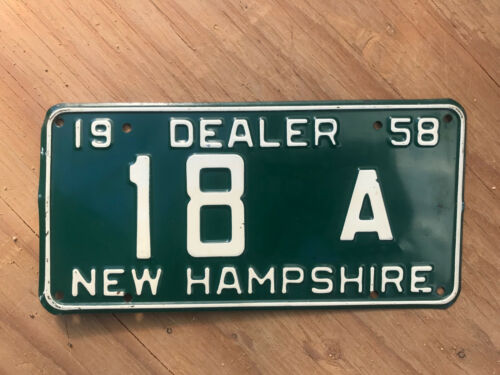 1958 New Hampshire dealer license plate 18 A low number