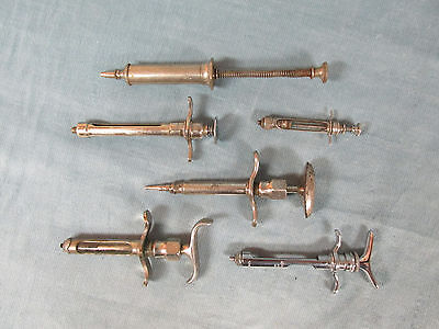 Vtg Antique Lot of 6 Metal Hypodermic Syringes Surgical Medical Tool 2 w/Glass