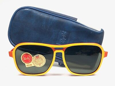 VINTAGE RAY BAN STATESIDE OLYMPIC RED & YELLOW  G15 GREY SUNGLASSES B&L