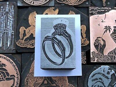 Antique Vtg Diamond Ring Wedding Band Letterpress Print Type Cut Ornament Block