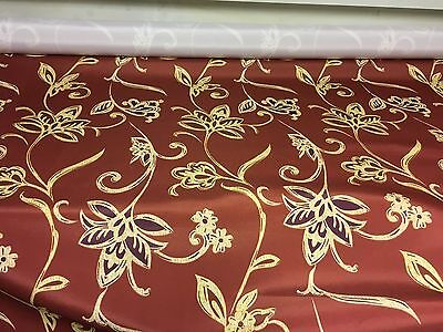 BEAUTIFUL LINEN LOOK RED FLORAL PRINT DESIGNER CURTAIN FABRIC 8 METRES