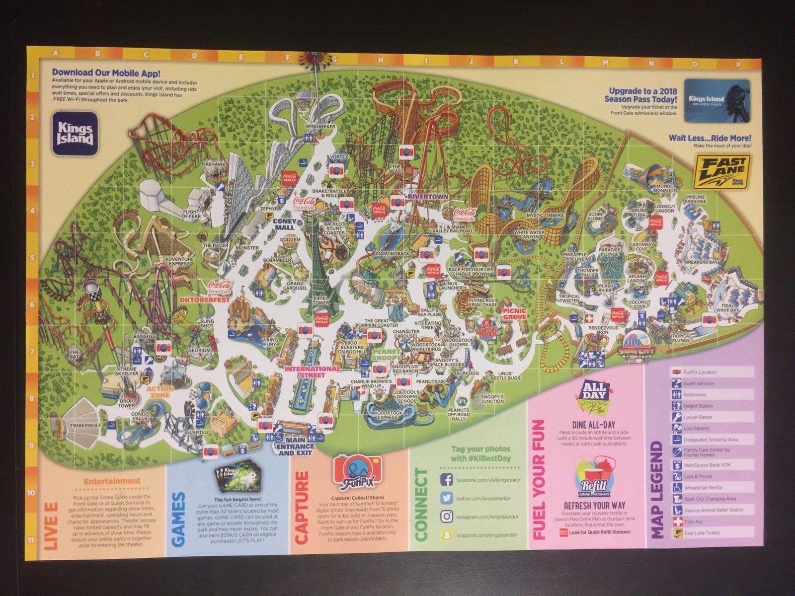 2018 Kings Island Amusement Park Map Guide Official OHIO Cincinnati - $9.99