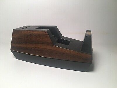 Vintage Wood Grain Tape Dispenser 3m Scotch Brand Executive Desk Top