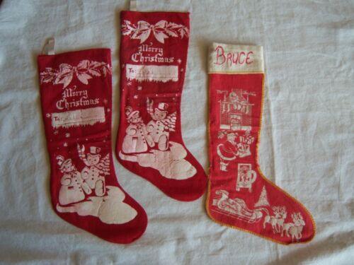 3 VINTAGE STENCILED CHRISTMAS STOCKINGS Santa Sleigh Reindeer Snowman Red