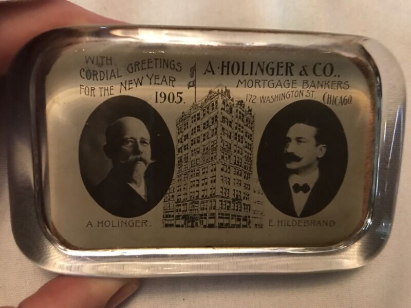 1905 A. HOLLINGER & Co. Bankers Vintage Paperweight, Chicago, Ill.