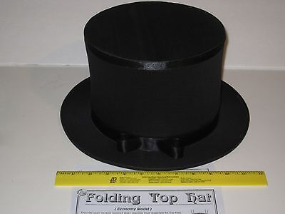 Magician's Folding Top Hat Collapsible Hat Folds Flat & Pops Open, Costume Trick