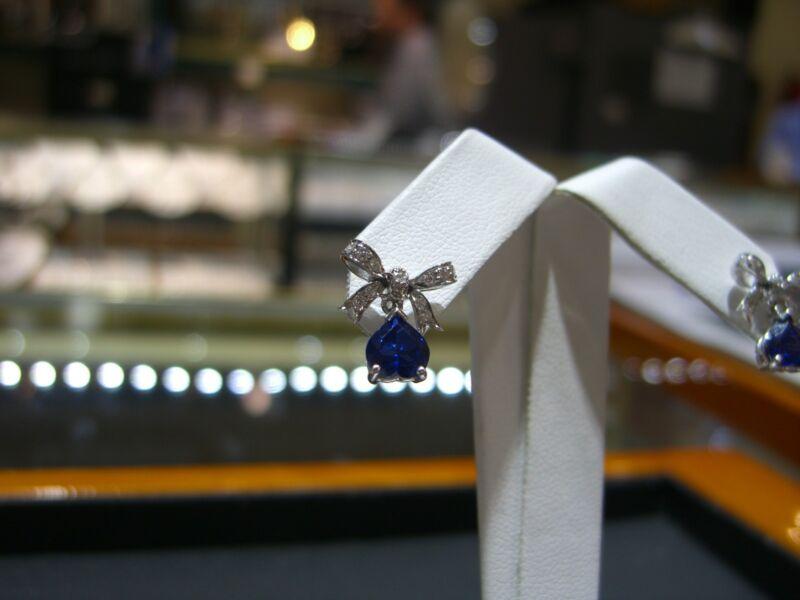Fine Womens Bow Earrings Diamond And Ceylon Sapphire 14 Karat White Gold New