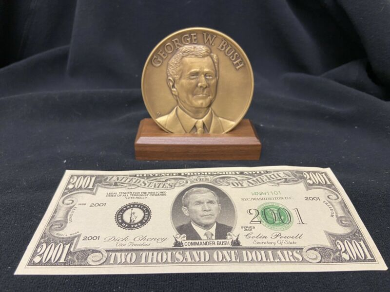 President George W. Bush Inauguration Medal with Stand plus 2001 Dollar Bill