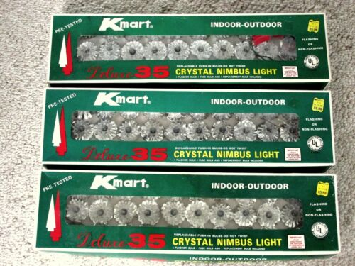 3 Boxes Vintage Christmas String Lights Crystal Nimbus Snowflake Reflectors NRFB