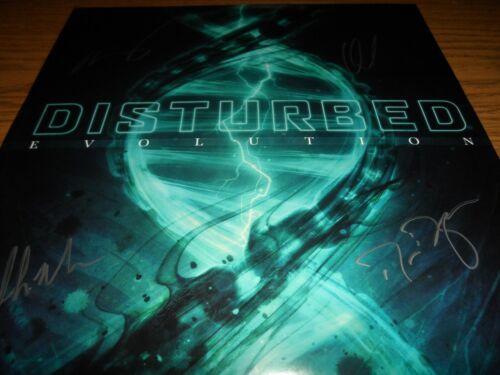 DISTURBED SIGNED EVOLUTION VINYL RECORD ALBUM DAVID DRAIMAN + 3 JSA CERTIFIED