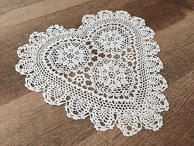 "8"" Inch Heart Shaped Cotton Crochet Lace Doily White 12 PCS Wedding Doilies"