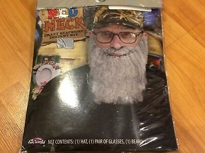 QUACKERS UNCLE SI DUCK HUNTERS CAMO HAT GREY BEARD & GLASSES COSTUME RED - Red Beard Costume