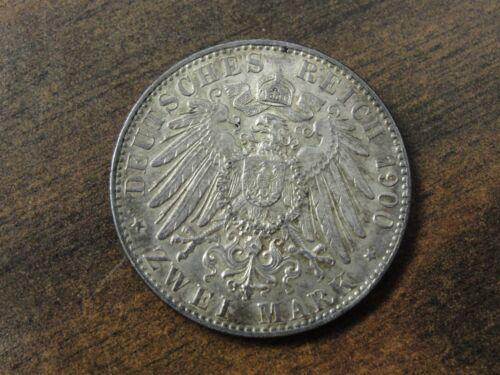 1900 J German Hamburg 2 Mark Silver Coin Km #294