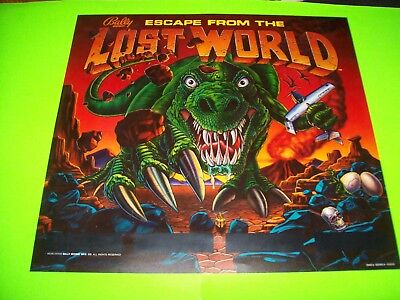 Bally ESCAPE FROM THE LOST WORLD Original Pinball Machine Translite Art Sheet