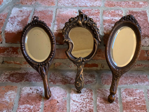 Set of 3 Antique French Carved Wood Black Forest Hand Mirror Vanity Wall Art  c