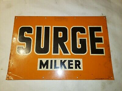 Vintage Surge Milker Metal Farm Sign 18x12 AMD co made in USA 459