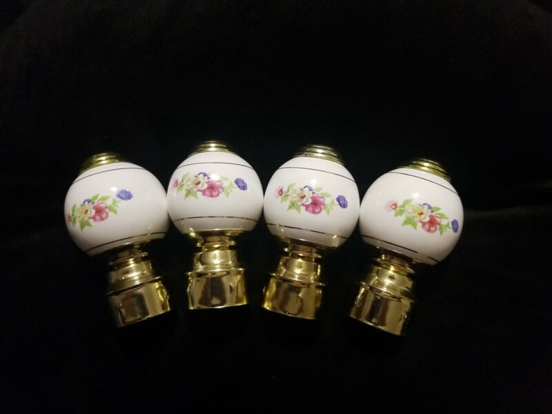 4 Porcelain Flower Bed Post Finials unused white flowery design Free Shipping!